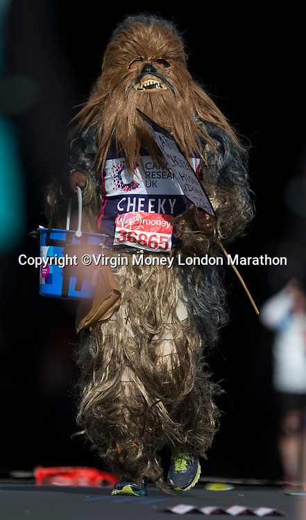 Mark Chellum GBR runs dressed as Chewbacca. The Virgin Money London Marathon, 23rd April 2017.<br /> <br /> Photo: Charlotte Wilson for Virgin Money London Marathon<br /> <br /> For further information: media@londonmarathonevents.co.uk
