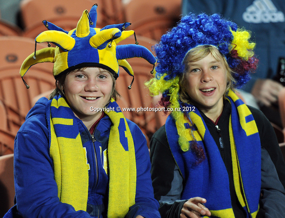Highlanders fans and supporters during the 2012 Super Rugby season, Chiefs v Highlanders match at Waikato Stadium, New Zealand. Saturday 25 February 2012. Photo: Andrew Cornaga/Photosport.co.nz