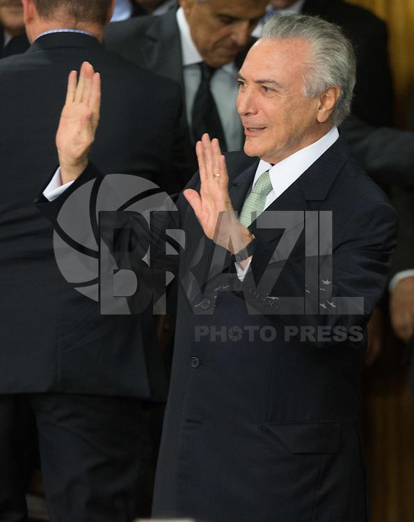 BRASILIA, DF, 12.05.2016 - TEMER-POSSE -  O presidente Michel Temer, durante a cerimônia de posse de seus  ministros no Palácio do Planalto, nesta quinta-feira, 12. (Foto:Ed Ferreira/Brazil Photo Press)