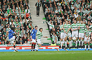 Rangers' Pedro Mendes fires a free kick into the defensive wall during the League Cup final between Rangers and Celtic at Hampden Park -<br /> David Young Universal News And Sport