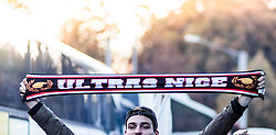 20.10.2016, Red Bull Arena, Salzburg, AUT, UEFA EL, FC Red Bull Salzburg vs OGC Nizza, Gruppe I, im Bild ein Nizza Fan mit einem Ultra Schal // A Nice fan with an ultra scarf during the UEFA Europa League group I match between FC Red Bull Salzburg and OGC Nizza at the Red Bull Arena in Salzburg, Austria on 2016/10/20. EXPA Pictures © 2016, PhotoCredit: EXPA/ JFK