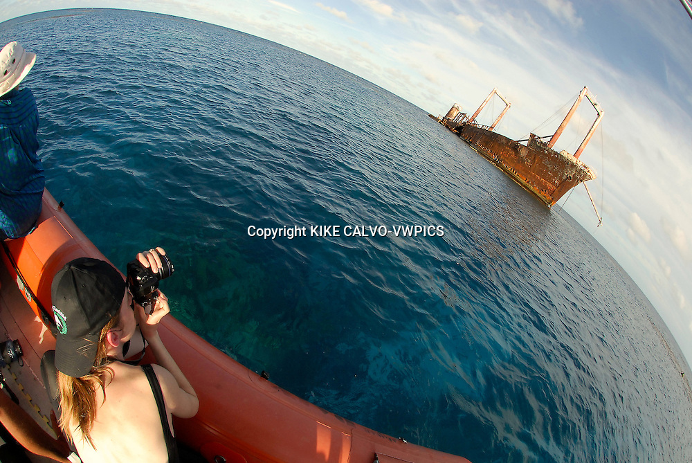Photographing the Polisini Greek Wreck  (Kinsei Maru), Silver Banks Marine Sanctuary, Dominican Republic, Caribbean Sea