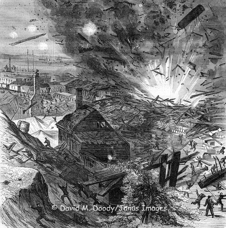 Civil War- GENERAL GRANT'S CAMPAIGN EXPLOSION AT CITY POINT, AUGUST 9, 1864. - SKETCHED BY A. R. WAUD. The scene of the EXPLOSION AT CITY POINT, which occurred August 9, and which is illustrated on our first page, was along the new pine wharf at the main steamboat landing. This wharf was one-third of a mile in length. Back from its edge ten or twelve feet was the large new Government warehouse, also of pine, nearly coextensive in length with the wharf, and answering as a depot for the railroad which conveys supplies to the army. Across the railroad, and at the foot of the hill on which the small town is situated, was a new row of buildings, accommodating the Post, office, Adams's Express office, and the Quarter-master's office. Upon the hill, besides about a dozen houses, were numerous tents for soldiers. On the morning of the explosion three barges, the Major - General Meade, the J. E. Kendrick, and the J. C. Campbell lay close to the wharf. The J. E. Kendrick was loaded with ammunition, and it was on this boat that the mischief was developed from a too careless handling of the ammunition. The 11.30 A.M. train was just about to start out when a stunning shock was heard, and the air was piled thick with the ruinous fragments which in their fall rained down upon the tents and houses on the hill, and upon the heads of passengers on board the train, scattering the ground for a mile around with muskets, shells, bolt-heads, and the ribs of exploded barges. The Kendrick was blown to atoms with the loss of all on board?a dozen or more of souls. The captain was absent. The General Meade and the Campbell were destroyed and sunk with little if any loss of life. The wharf was torn up, the warehouse was destroyed, and the railroad cars shattered, though not irreparably, by the concussion. The row of buildings the other side of the railroad was crushed. The entire loss of property was about two millions. The loss of life was not so large as might have been expected.