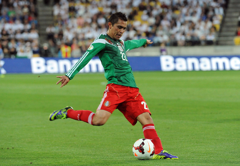 Mexico's Paul Aguilar against New Zealand in the World Cup Football qualifier, Westpac Stadium, Wellington, New Zealand, Wednesday, November 20, 2013.  Credit:SNPA / Ross Setford