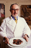 1996, Paris, France --- Chef Alain Senderens with Truffle Ravioli --- Image by  Owen Franken