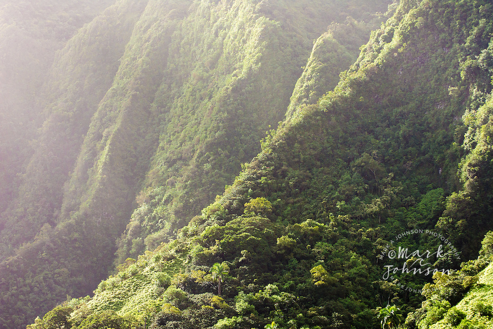 The vertical cliffs (pali) of the Koolau Mountains, Oahu, Hawaii