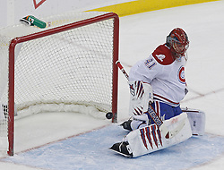 Jan 22, 2010; Newark, NJ, USA; Montreal Canadiens goalie Jaroslav Halak (41) makes a save during the first period at the Prudential Center.