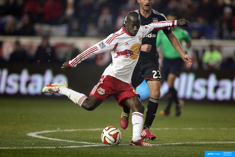 Bradley Wright-Phillips, New York Red Bulls, shoots during the New York Red Bulls V DC United, MLS Cup Playoffs, Eastern Conference Semifinals first leg at Red Bull Arena, Harrison, New Jersey. USA. 2nd November 2014. Photo Tim Clayton