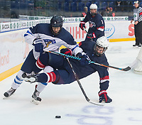 POPRAD, SLOVAKIA - APRIL 23: USA vs Finland gold medal game 2017 IIHF Ice Hockey U18 World Championship. (Photo by Steve Kingsman/HHOF-IIHF Images)