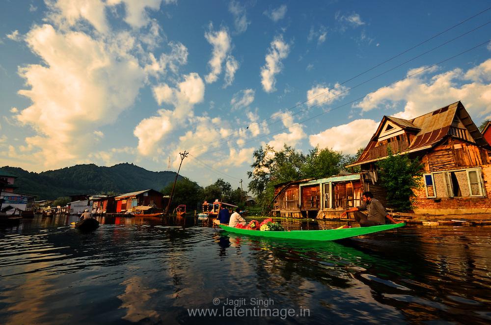 A typical floating market place at Dal Lake, Srinagar, India.
