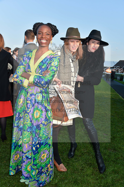 Left to right, SHINGAI SHONIWA, HOLLY GRACE and AMY MOLYNEAUX at the 2014 Hennessy Gold Cup at Newbury Racecourse, Newbury, Berkshire on 29th November 2014.  The Gold Cup was won by Many Clouds ridden by Leighton Aspell.