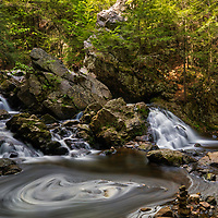 Spring swirl at Bear&rsquo;s Den Falls in New Salem, Massachusetts, Franklin County. This beautiful waterfall is tugged away in western Massachusetts not far away from Quabbin Reservoir.  It is a cascade type waterfall with a beautiful pool at the bottom of the falls surrounded by steep cliffs. I love stepping into this amphitheater of Mother Nature and the feel of an isolation at this scenic waterfall.     <br />