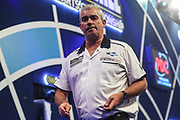 Steve Beaton leaves the stage after his third round victory over James Wade during the PDC William Hill World Darts Championship at Alexandra Palace, London, United Kingdom on 22 December 2019.