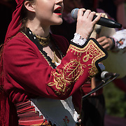Singer Maria Georgieva preforms at the 7th annual Folk Festival! with food and drinks music and dancing on 5 May 2018 at Forty Hill, Enfield, London