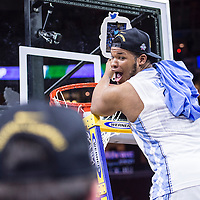 27 MAR 2016: Kennedy Meeks #3 of the University of North Carolina celebrates after a game against Notre Dame University during the 2016 NCAA Men's Basketball Tournament held at the Wells Fargo Center in Philadelphia, PA.  Ben Solomon/NCAA Photos