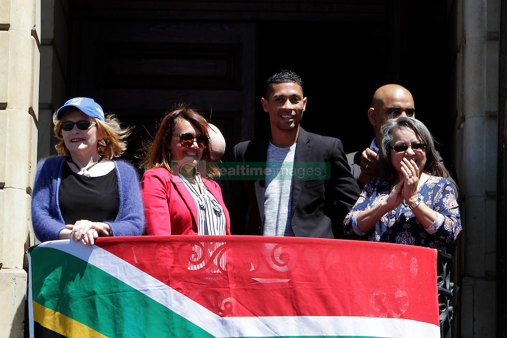 Monday 17th October 2016.<br /> Grand Parade & Greenpoint Athletics Stadium, Cape Town,<br /> Western Cape, South Africa.<br /> <br /> Cape Town Honours South African Olympic And Paralympic Heroes<br /> <br /> Olympic Champion and 400 Metre World Record Holder Wayde Van Niekerk greets the crowd along with Western Cape Premiere Helen Zille and Cape Town Mayor Patricia De Lille and others at Grand Parade.<br /> <br /> Cape Town honours the South African Olympic and Paralympic heroes during a special celebratory event held in Cape Town, Western Cape, South Africa on Monday 17 October 2016.<br /> <br /> Picture By: Mark Wessels / Real Time Images.