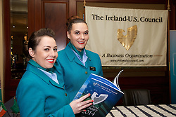 The Ireland - U.S. Council Spring Corporate Lunch on Friday, April 17, 2015 in Clyde Court Hotel, Lansdowne Road, Ballsbridge, Dublin.<br /> <br /> Caroline O Connell and Orla Harnett Aer Lingus. Dorothea and Terry	Brennan,	Chatham Design,
