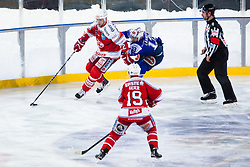 03.01.2015, Klagenfurter Wörthersee Stadion, Klagenfurt, AUT, EBEL, EC KAC vs EC VSV, 35. Runde, in picture Thomas Pöck (EC KAC, #22) and John Lammers (EC VSV, #13) during the Erste Bank Icehockey League 35. Round between EC KAC and EC VSV at the Klagenfurter Wörthersee Stadion, Klagenfurt, Austria on 2015/01/03. Photo by Matic Klansek Velej / Sportida