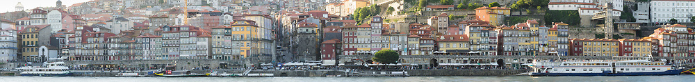 Ribeira Waterfront (UNESCO World Heritage Site) Panoramic, Porto, Portugal