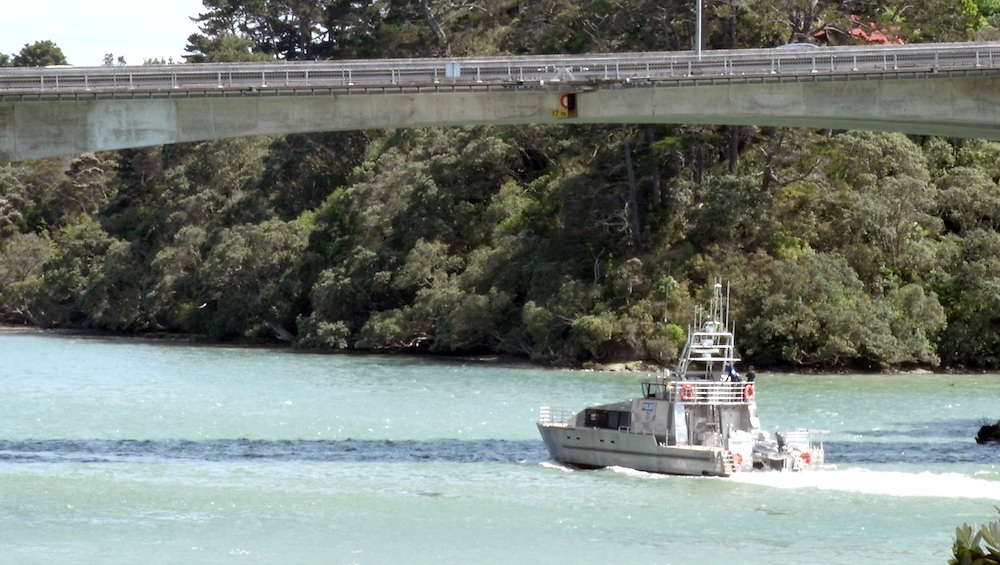 The Police helicopter and launch Deodar along with the Westpac Rescue helicopter are involved in an extensive search the upper Waitemata Harbour for a person believed to have fallen from the Upper Harbour Bridge, Auckland, New Zealand, Sunday, December 07, 2014. Credit:SNPA / Daniel Hines  **VIDEO GRAB**