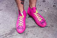 Joe's flourescent pink Converse serve as added promotional materials. Kensington PMA Bike Ride, Saturday June 27, 2017.