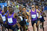 Friidrett<br /> IAAF Diamond League<br /> 15.05.0215<br /> Doha Qatar<br /> Foto: Hasse Sjøgren/Deca/Digitalsport<br /> <br /> Mohamed Farah - Storbritannia<br /> Henrik Ingebrigtsen, Norge<br /> 3000 meter