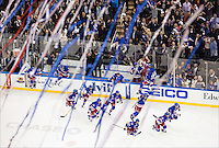 On May 29, 2014, the final buzzer sounds and streamers fall from the ceiling at Madison Square Garden as the New York Rangers, coaches and fans celebrate their Eastern Conference Final series victory over the Montreal Canadiens. The win advances the Rangers to their first Stanley Cup Final in 20 years.