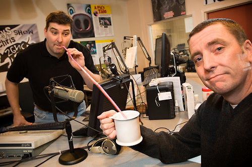 Chris Kelly: background with straw, Chris Demm: foreground.  In studio at Rock 92- Downtown Greensboro NC