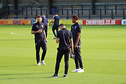 AFC Wimbledon defender Tyler Garratt (12), AFC Wimbledon defender Toby Sibbick (20) and AFC Wimbledon midfielder Anthony Wordsworth (40) on the pitch prior to kick off during the EFL Carabao Cup 2nd round match between AFC Wimbledon and West Ham United at the Cherry Red Records Stadium, Kingston, England on 28 August 2018.