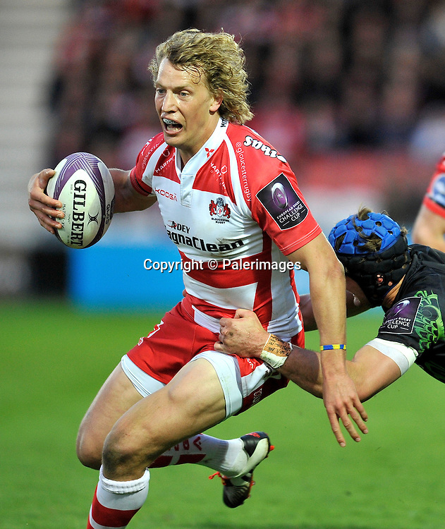 Gloucester, England. Billy Twelvetrees (capt) of Gloucester Rugby in action during the European Rugby Challenge Cup semi-final match between Gloucester Rugby vs Exeter Chiefs at Kingsholm Stadium on April 18, 2015 in Gloucester, England. Photo Michael Paler/ Photosport.co.nz