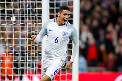 Chris Smalling of England celebrates scoring a goal to make it 1-0 - Mandatory byline: Rogan Thomson/JMP - 02/06/2016 - FOOTBALL - Wembley Stadium - London, England - England v Portugal - International Friendly.