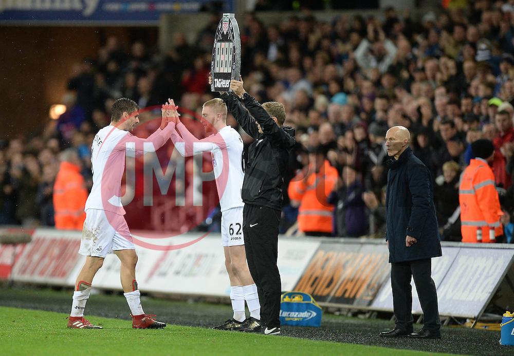 Oliver McBurnie of Swansea City replaces Fernando Llorente of Swansea City - Mandatory by-line: Alex James/JMP - 10/12/2016 - FOOTBALL - Liberty Stadium - Swansea, England - Swansea City v Sunderland - Premier League