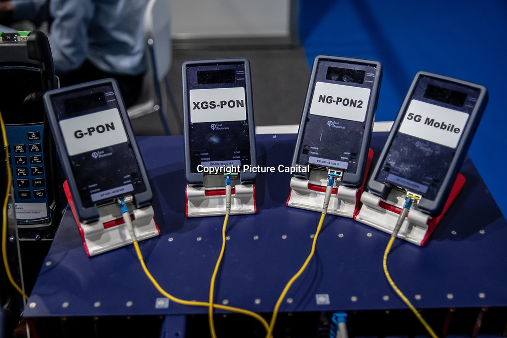 NG-PON2, G-PON, XGS-PON and 5G Mobile exhibition at 5G World Day Two at Excel London,on 12 June 2019, UK,,