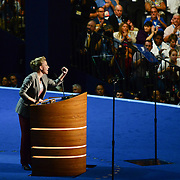 Scarlett Johansson speaks at the 2012 Democratic National Convention