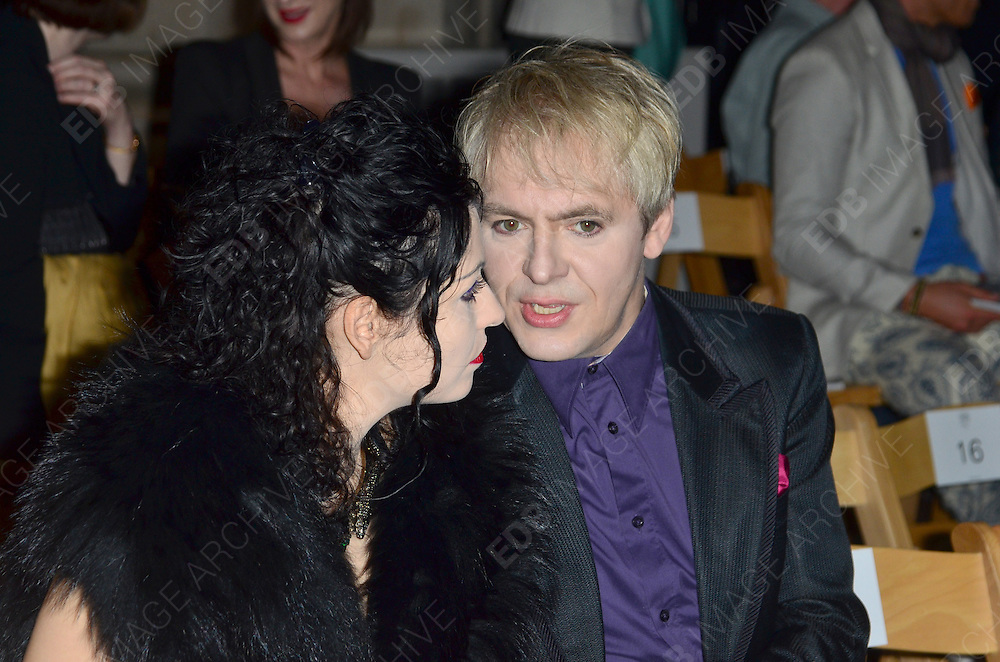 16.SEPTEMBER.2012. LONDON<br /> <br /> NICK RHODES ATTENDS PHILIP TREACY'S LFW SHOW AT THE ROYAL COURTS OF JUSTICE. <br /> <br /> BYLINE: EDBIMAGEARCHIVE.CO.UK<br /> <br /> *THIS IMAGE IS STRICTLY FOR UK NEWSPAPERS AND MAGAZINES ONLY*<br /> *FOR WORLD WIDE SALES AND WEB USE PLEASE CONTACT EDBIMAGEARCHIVE - 0208 954 5968*