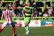 Forest Green Rovers Gavin Gunning(16) on the ball during the EFL Sky Bet League 2 match between Forest Green Rovers and Cheltenham Town at the New Lawn, Forest Green, United Kingdom on 20 October 2018.