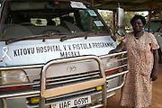 The fistula ribbon on the bonnet of the fistula mini bus parked at Kitovu Hospital, Uganda.