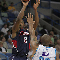 05 November 2008: Atlanta Hawks guard Joe Johnson (2) shoots over New Orleans Hornets forward David West (30) during the first half of a NBA game between the New Orleans Hornets and the Atlanta Hawks at the New Orleans Arena in New Orleans, LA..