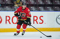 PENTICTON, CANADA - SEPTEMBER 16: Mikkel Aagaard #95 of Calgary Flames looks for the pass against the Winnipeg Jets on September 16, 2016 at the South Okanagan Event Centre in Penticton, British Columbia, Canada.  (Photo by Marissa Baecker/Shoot the Breeze)  *** Local Caption *** Mikkel Aagaard;