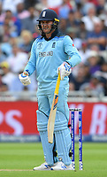Cricket - 2019 ICC Cricket World Cup - Semi-Final: England vs. Australia<br /> <br /> England's Jason Roy confused as Umpire Dharmasena (left) gives him out for 85, caught by Australia's Alex Carey off the bowling of Pat Cummins, at Edgbaston, Birmingham.<br /> <br /> COLORSPORT/ASHLEY WESTERN