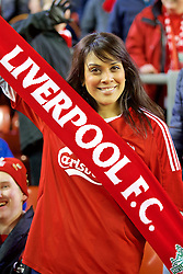 LIVERPOOL, ENGLAND - Thursday, March 10, 2016: A female Liverpool supporter before of the UEFA Europa League Round of 16 1st Leg match against Manchester United at Anfield. (Pic by David Rawcliffe/Propaganda)