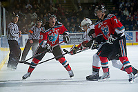 KELOWNA, CANADA - NOVEMBER 30: Myles Bell #29 of the Kelowna Rockets makes a pass against the Moose Jaw Warriors at the Kelowna Rockets on November 30, 2012 at Prospera Place in Kelowna, British Columbia, Canada (Photo by Marissa Baecker/Getty Images) *** Local Caption ***