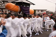 Priests spin the large heavy Cypress Pine phallus around as fast as they can whilst trying not endanger themselves or the crowd in the Tagata Fertility Festival.