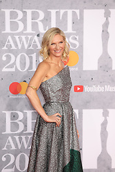 Jo Whiley is seen arriving at the O2 in London for the 2019 Brit Awards.<br />
