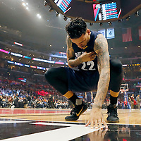 12 April 2016: Memphis Grizzlies forward Matt Barnes (22) is seen prior to the Los Angeles Clippers 110-84 victory over the Memphis Grizzlies, at the Staples Center, Los Angeles, California, USA.