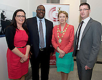 21/05/2013 Repro free.   Sharon Lawless Social Inclusion Officer Department of Community & Culture, Galway City Council, South African Ambassador Jermaih Ndou and Mayor of Galway City Cllr. Terry O Flaherty and Liam Hanrahan, Galway City Council at the launch of Africa Day 2013 at Galway City Museum by Galway City Council and Irish Aid. .Africa Day falls on 25th May each year, with events taking place around the country from 20th-27th May.  It is an initiative of the African Union, and aims to celebrate African diversity and success and the cultural and economic potential of the continent.  In Ireland, events to mark Africa Day are supported by Irish Aid, the Government's programme for overseas development and Galway City Council.. .The events planned by Galway City Council will take place on 21st May and from 24th to 26th May.  Galway City Council are launching Africa Day 2013 by Mayor of Galway City Cllr Terry O'Flaherty on Tuesday 21st May @ 11:00 a.m.at the Galway City Museum with inputs from the African Ambassadors Network, Africian Film Festival, NUIG and music by South Africian Choirs. Picture:Andrew Downes