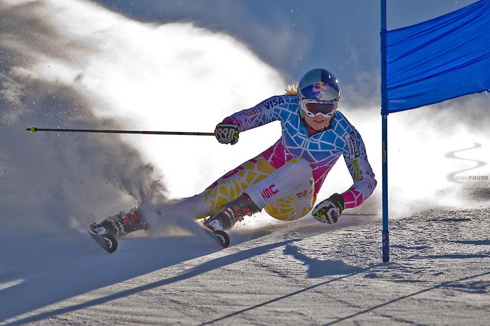 US Ski Team athlete Lindsey Vonn training giant slalom on Golden Peak in Vail,CO on November 18, 2010.
