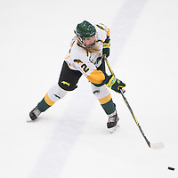 1st year defence man Jensen Smigelsky (22) of the Regina Cougars in action during the Women's Hockey home game on November 18 at Co-operators arena. Credit: Arthur Ward/Arthur Images