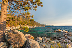 """Boulders at Lake Tahoe 46"" - This tree and boulders were photographed just before sunset near Hidden Beach, Lake Tahoe."
