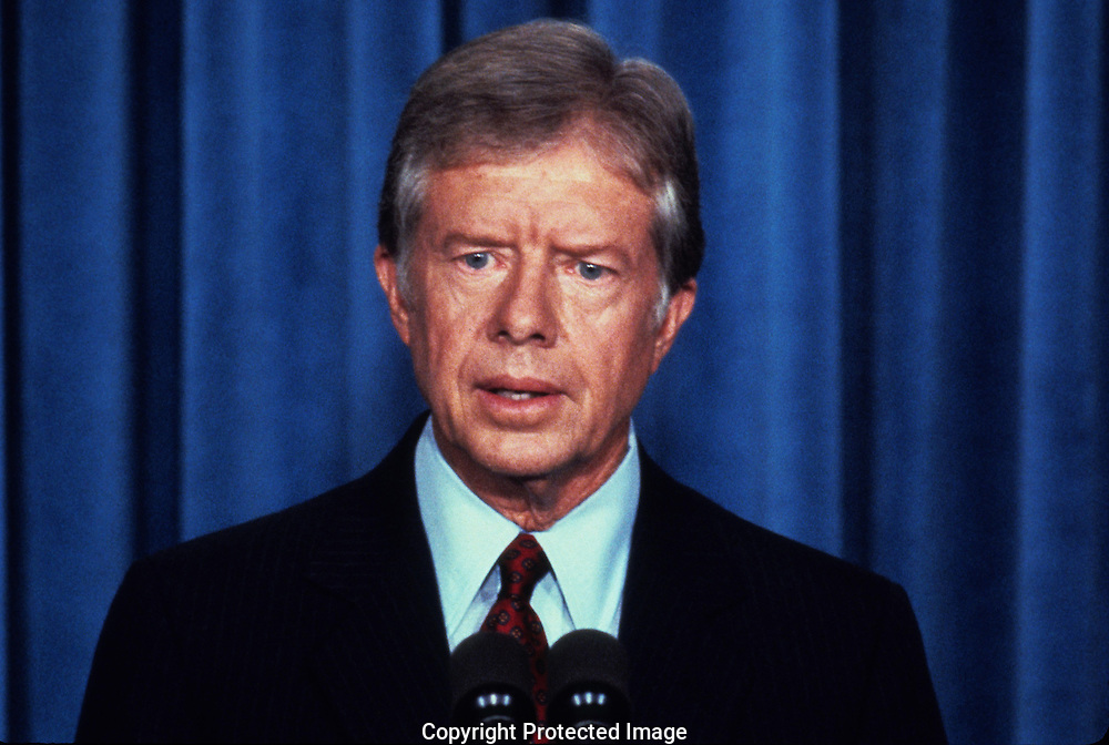 President Jimmy Carter speaking in  September 1979<br /> <br /> Photograph by Dennis Brack<br /> bb45